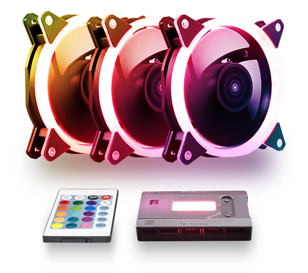 Kit de 3 ventiladores RGB Candy 30 RGB Y 7 aspas -51797-aldetalle