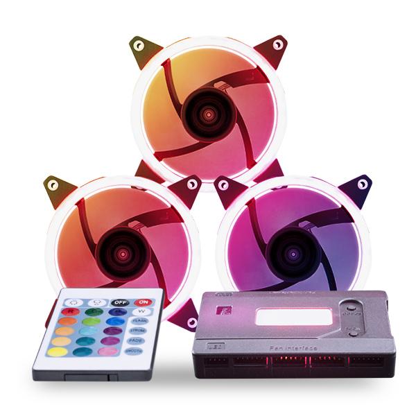 Kit de 3 ventiladores RGB Candy 30 RGB Y 7 aspas -51797-c